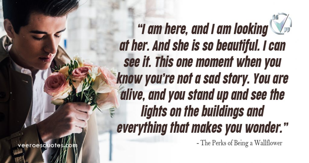 I am here, and I am looking at her. And she is so beautiful. I can see it. This one moment when you know you're not a sad story. You are alive, and you stand up and see the lights on the buildings and everything that makes you wonder. – The Perks of Being a Wallflower