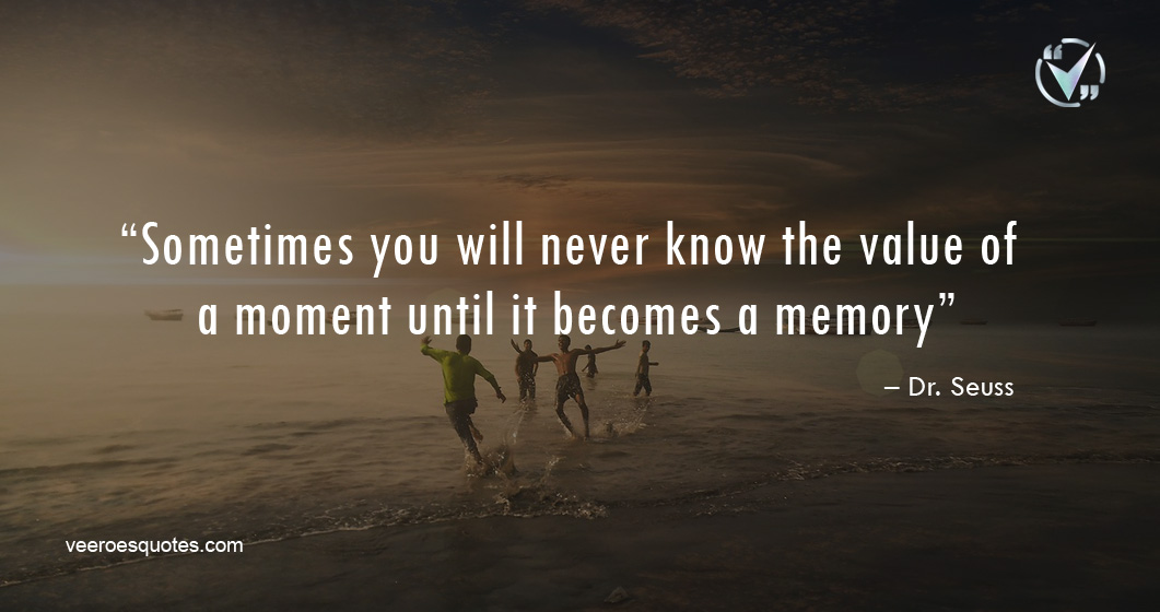 Sometimes you will never know the value of a moment until it becomes a memory. – Dr. Seuss