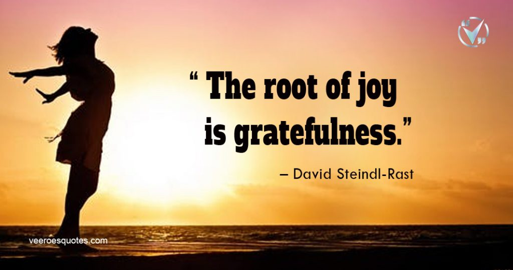 The root of joy is gratefulness. – David Steindl-Rast