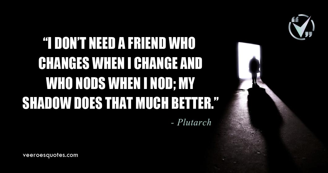 I don't need a friend who changes when I change and who nods when I nod; my shadow does that much better. Plutarch