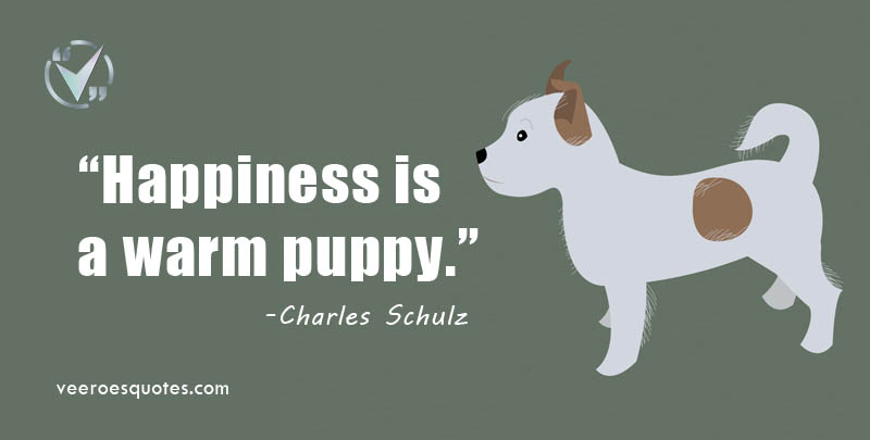 Happiness is a warm puppy. Charles Schulz