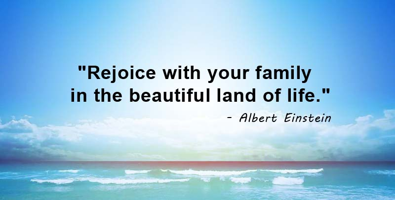 Rejoice with your family in the beautiful land of life. Albert Einstein Quotes