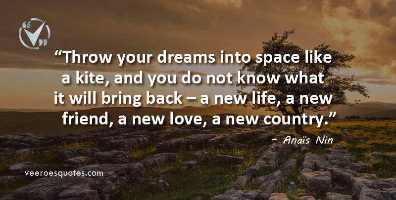 Throw your dreams into space like a kite, and you do not know what it will bring back – a new life, a new friend, a new love, a new country. Anaïs Nin Quotes