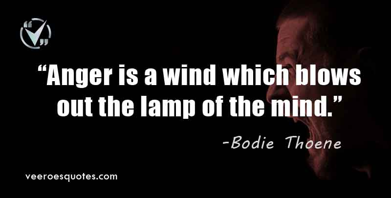Anger is a wind which blows out the lamp of the mind. Bodie Thoene Quotes